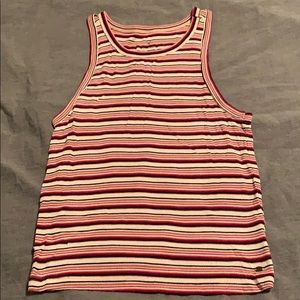 White and red striped muscle shirt